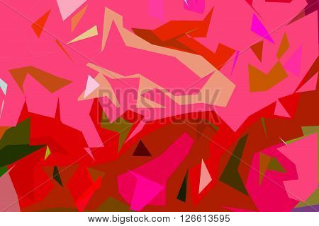 Abstract background of pink shades, a broken line of abstract illustrations. Flashes of movement. The geometric background of colored lines.