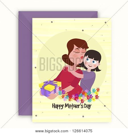 Illustration of a woman kissing her cute daughter. Elegant greeting card design with envelope for Happy Mother's Day celebration.