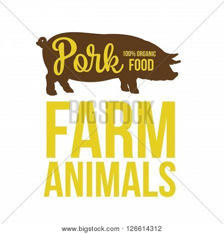 Black contour farm animal with a white inscription inside, Logo pig vector animal, outline for the product, vector illustration contour farming pig with lettering on the pork meat