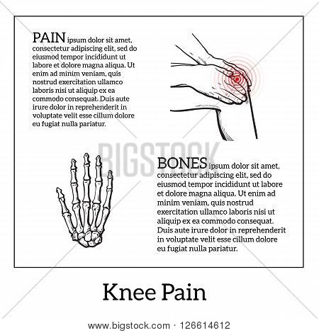 Painted knee pain. Discomfort in a joint leg. Symptoms of motor functions in humans.Template medical bulletins. Illustration of human hand bones. Vector sketch illustration legs. Hands hold the knee