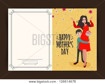 Elegant greeting card design with illustration of son hugging his mom on occasion of  Mother's Day celebration.