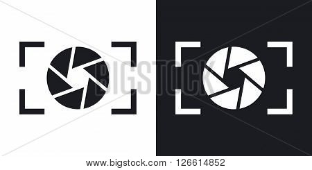Camera lens icon stock vector. Two-tone version on black and white background