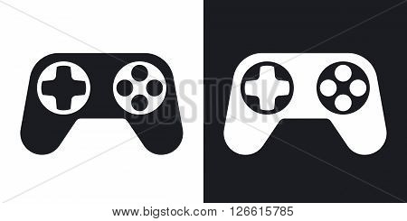Gamepad vector icon. Two-tone version on black and white background
