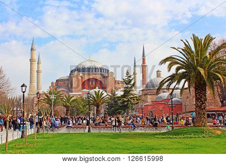 ISTANBUL, TYRKEY - MARCH 30,2013: View of Saint Sophia and the area with tourists citizens and street sellers, Istanbul, Turkey