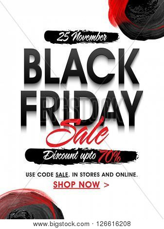 Black Friday Sale Poster, Sale Banner, Sale Flyer, 70% Discount, Vector illustration.