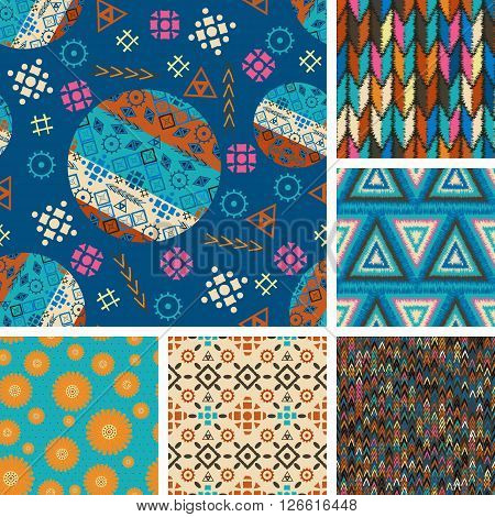 set of seamless patterns with tribal boho-vector illustration. Boho style design ethnic ornaments. Triangles circles fashionable patterns and prints texture.
