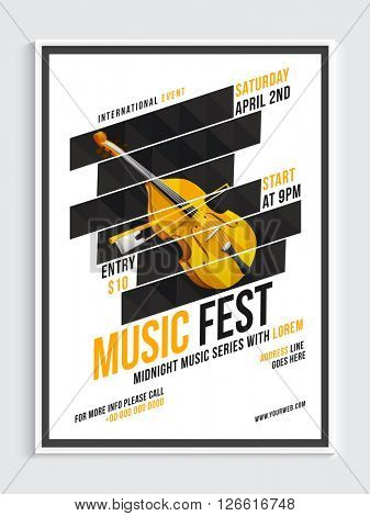 Music Fest Template, Banner or Flyer design with illustration of stylish violin instrument.