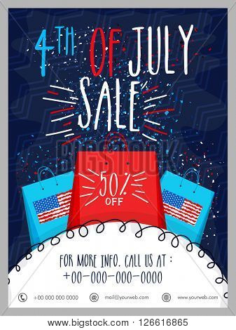 4th of July, Sale Template, Sale Banner, Sale Flyer, 50% Discount. Creative illustration for American Independence Day celebration.