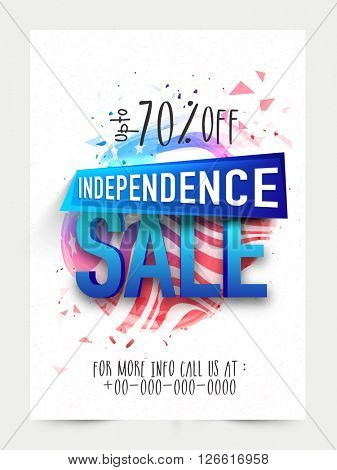 Sale Template, Sale Banner, Sale Flyer, 3D text Sale, Discount upto 70%, Limited Time Only, Creative illustration for American Independence Day concept.