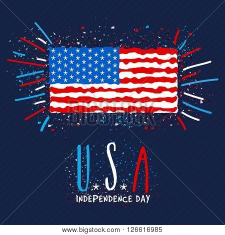 Creative illustration of American Flag with stylish text U.S.A on blue background for Independence Day celebration.