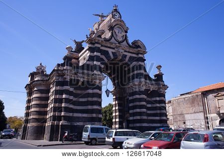 View of the Giuseppe Garibaldi triumphal arch