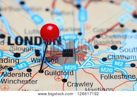 Guildford pinned on a map of UK