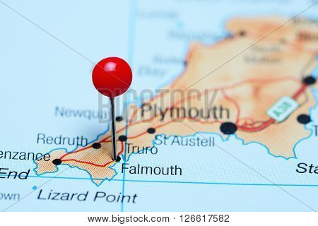 Falmouth pinned on a map of UK