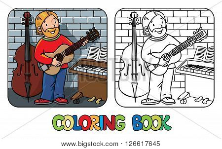 Coloring book of funny musician or guitarist or artist with guitar on wall background near small piano and contrabass. Profession series. Children vector illustration.