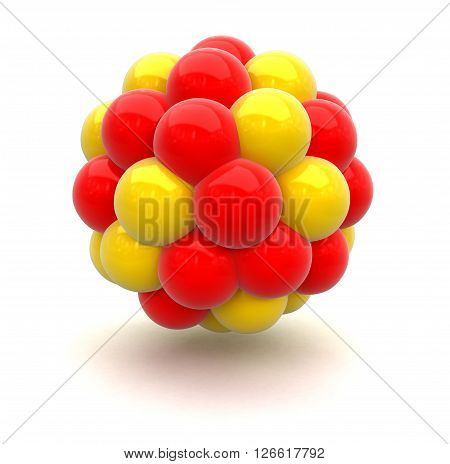 Atomic nucleus. 3d Image with clipping path