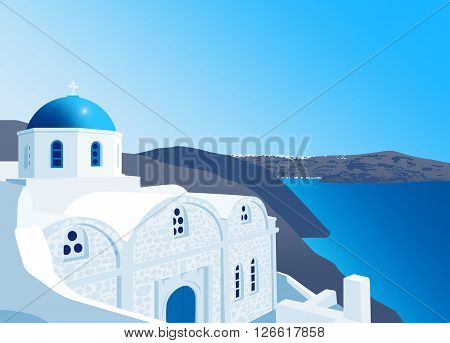 White church with blue dome at Santorini island Greece vector illustration