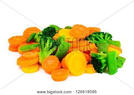 Steamed Vegetables Potatoes, Carrots, Cauliflower and Broccoli. Studio Photo