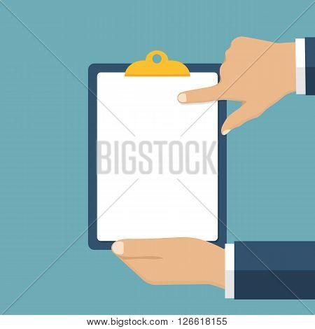 Blank Clipboard In Hands Businessman