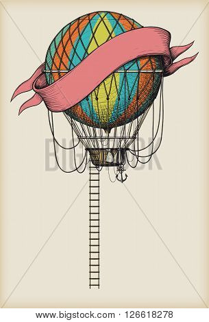 Retro colored hot air balloon with the banner and ladder on vintage beige background
