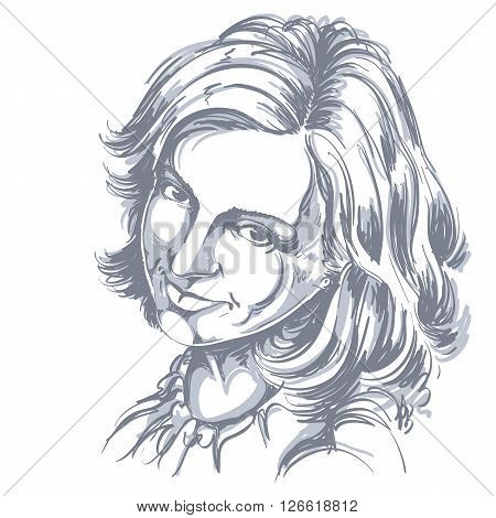 Hand-drawn Vector Illustration Of Beautiful Happy And Pleased Woman. Monochrome Image, Positive Expr