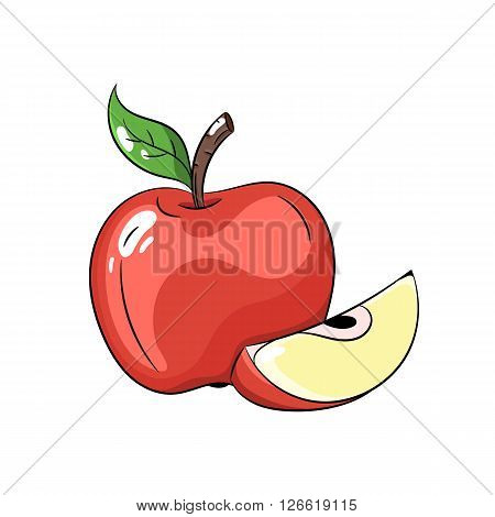 Vector red apple with green leaves. Apple slice. Vector illustration on white background - stock vector