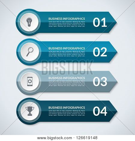 Infographic arrows. Abstract design template for infographics. Vector banner with 4 steps, parts, options, stages. Can be used for data visualization, workflow layout, chart, diagram, web design.