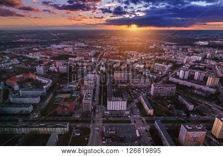 Wroclaw city under sunset air view. Poland Europe.