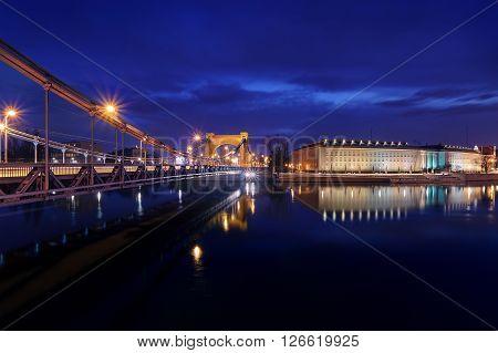 Evening view on the Regional Office with Grunwaldzki bridge in Wroclaw Poland.