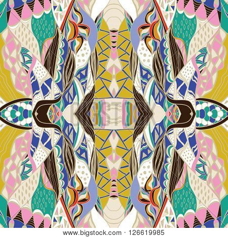Traditional ornamental paisley bandanna. Hand drawn colorful aztec pattern with artistic pattern.  Bright colors. Vector endless background. Hand drawn colorful aztec pattern with artistic pattern. Seamless pattern can be used for  pattern fills web page