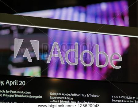 LAS VEGAS, NV - Adobe booth at NAB 2016, an annual trade show by the National Association of Broadcasters.1700+ exhibitors on 2000000 sq feet space of Las Vegas Convention Center.