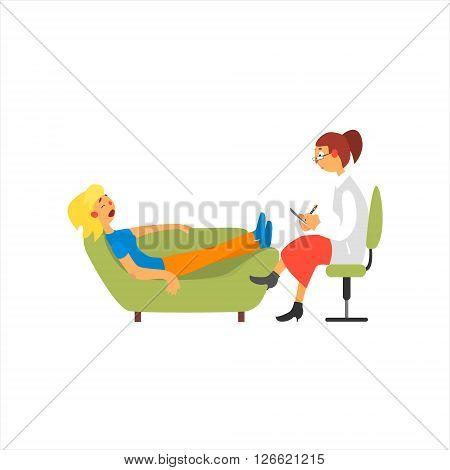 Female Psychoanalytic  Primitive Cartoon Style Isolated Flat Vector Illustration On White Background