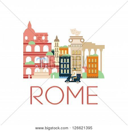 Rome Classic Toristic Scenery Flat Colorful Cartoon Style Illustration With Text On White Background