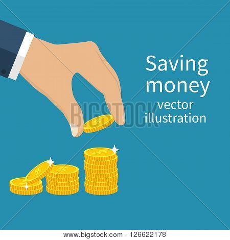 Coin in hand. Finance growth. Golden coins. Vector illustration Flat design style. Saving money. Concept investment. Saving cash.