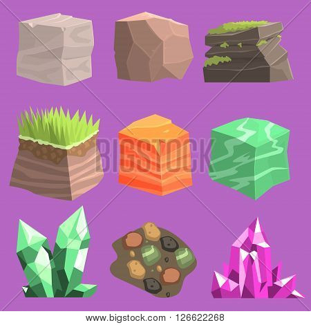 Stones And Ground Set  Of Vector Isolated Landscape Elements For Video Game Design