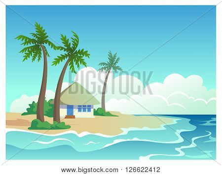 Sea landscape. vector illustration with bungalow on a tropical island