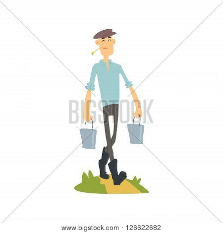 Man Bringing Buckets Of Water Flat Vector Simplified Childish Cartoon Style Illustration Isolated On White Background