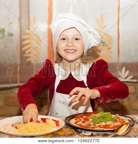 Children Make Pizza. Master Class For Children On Cooking Italian Pizza. Young Children Learn To Coo