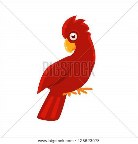 Red Cockatoo Parrot Flat Vector Illustration In Primitive Cartoon Style Isolated On White Background