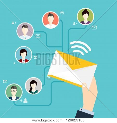 Running campaign, email advertising, direct digital marketing. Email marketing. Set of people avatars and icons. Flat design style modern vector illustration concept.