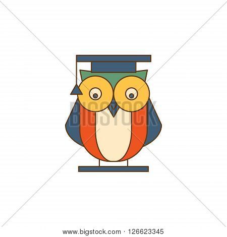 Owl in Mantle Flat Outlined Vector Design Logo With Text On White Background