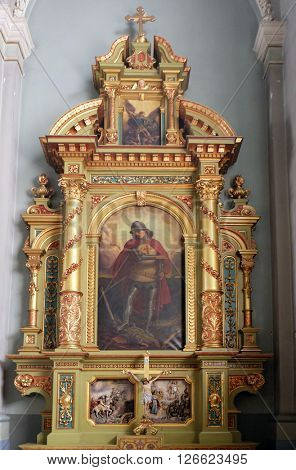 ZAGREB, CROATIA - MAY 28: Saint George altar in the Basilica of the Sacred Heart of Jesus in Zagreb, Croatia on May 28, 2015