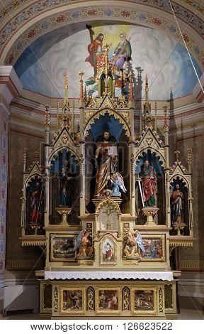 STITAR, CROATIA - NOVEMBER 24: Main altar in the church of Saint Matthew in Stitar, Croatia on November 24, 2015
