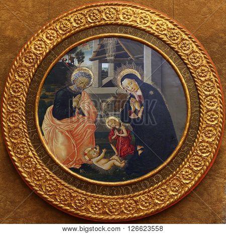 ZAGREB, CROATIA - DECEMBER 08: Pseudo Pier Francesco Fiorentino: The Birth of Jesus, Old Masters Collection, Croatian Academy of Sciences, December 08, 2014 in Zagreb, Croatia