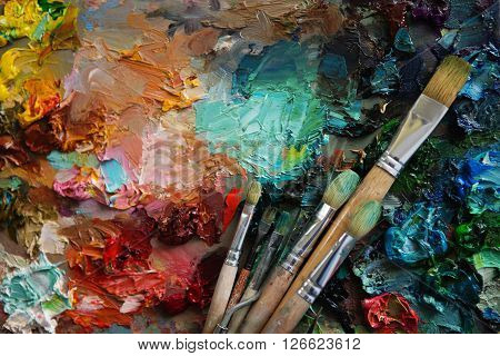 Vintage Stylized Photo Of Paintbrushes Closeup And Artist Palette.