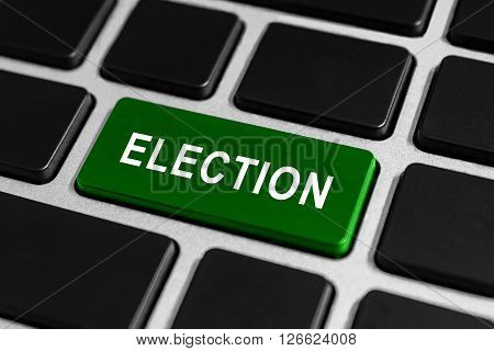 political election democracy green button on keyboard