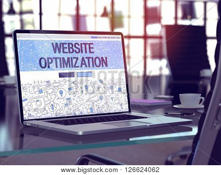 Modern Workplace with Laptop Showing Landing Page in Doodle Design Style with Text Website Optimization. Toned Image with Selective Focus. 3D Render.