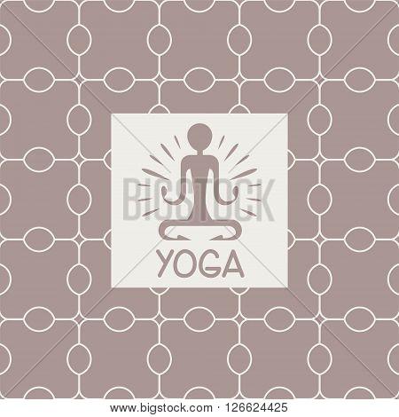 Enlightenment Yoga Studio Design Card In Pastel Colors Flat Vector Design On Ornamental Background
