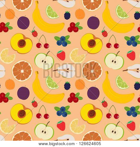 Fruits and berries seamless pattern 5. Illustration of some fruits citruses and berries