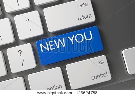 New You Concept: Slim Aluminum Keyboard with New You, Selected Focus on Blue Enter Key. Keyboard with Blue Button - New You. Modern Keyboard with Hot Button for New You. 3D Render.