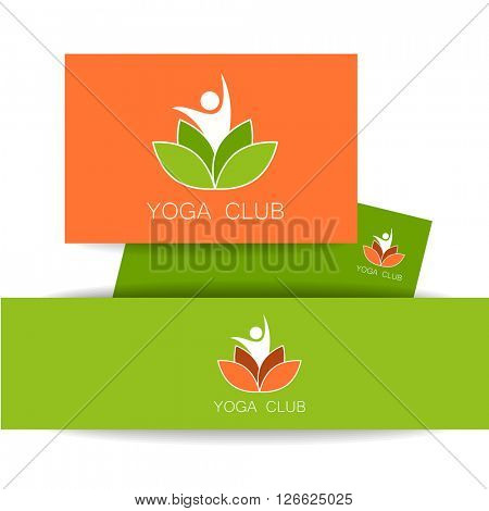 Yoga logo. Vector design template. Health Care, Beauty, Spa, Relax, Meditation, Nirvana concept icon.  Vector illustration.